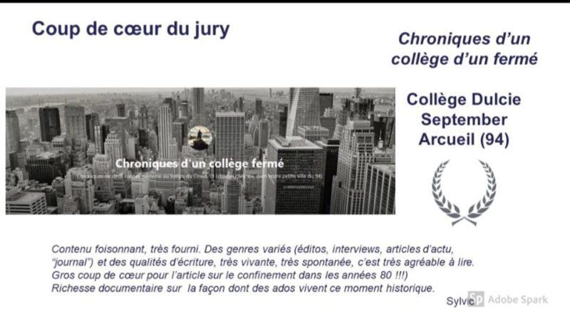 Notre blog de confinement remporte le «coup de cœur» du jury #MédiatiksCréteil !